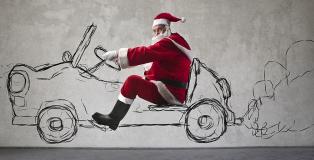 Santa and car